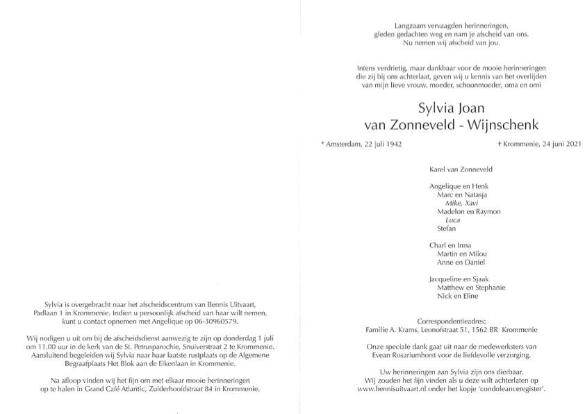 Sylvia van Zonneveld - Wijnschenk overleden